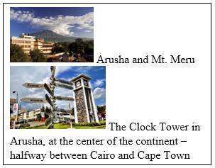 Arusha and Mt Meru